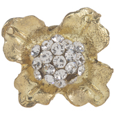 Gold Flower Metal Knob With Rhinestones
