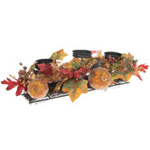Beaded Pumpkin & Berry Candle Holder Centerpiece