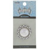 Pearl & Rhinestone Round Shank Button - 30mm