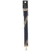 "Denim & Metallic Striped Bracelet - 7"""