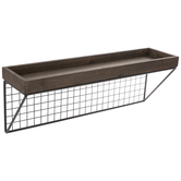 Rustic Wood & Grid Wall Shelf