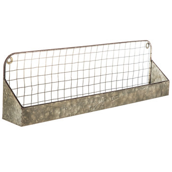 Mesh Galvanized Metal Wall Shelf