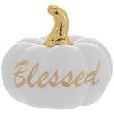 White & Gold Blessed Pumpkin