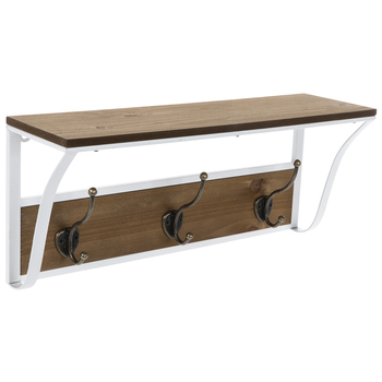 Brown & White Wood Shelf With Hooks