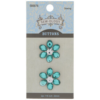 Flower Rhinestone Shank Buttons - 22mm