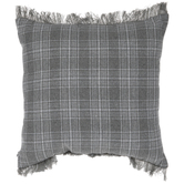 Gray Plaid Frayed Edge Pillow