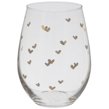 Stemless Glass With Metallic Gold Hearts