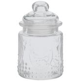 Fleur De Lis Embossed Glass Jar