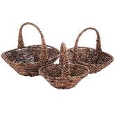 Dark Brown Corn-Leaf Basket Set With Handles