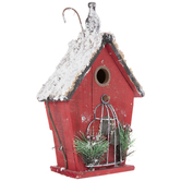 Red Wood Birdhouse With Cage & Snow
