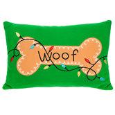 Woof Dog Bone Pillow