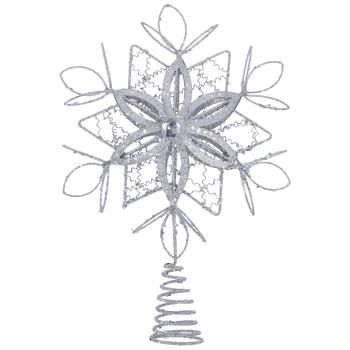 Silver Snowflake Metal Tree Topper