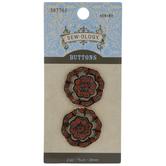 Coffee Rhinestone Flower Shank Buttons - 24mm