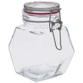 Pink Seal Hexagon Glass Mason Jar