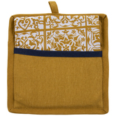 Mustard Floral Tile Pot Holder & Kitchen Towel