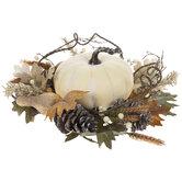 White Pumpkin & Oak Wreath Centerpiece