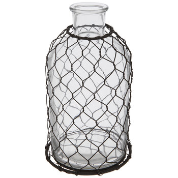 Glass Vase With Chicken Wire
