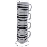 Black & White Striped Stacked Mugs