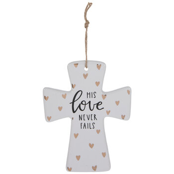 His Love Never Fails Hearts Wall Cross