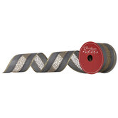 """Gray & Gold Striped Wired Edge Mesh Ribbon - 2 1/2"""""""