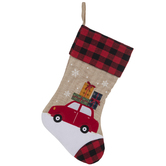 Christmas Car Stocking With Plaid Cuff