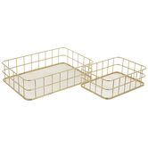 Gold Wire Metal Basket Set