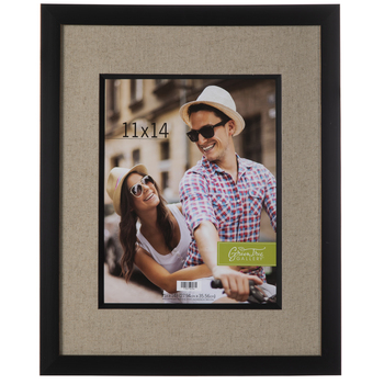 Wood Wall Frame With Burlap Mat