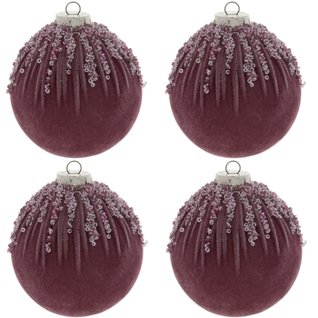 Purple Velvet Glitter Ball Ornaments