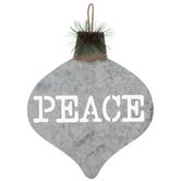 Peace Ornament Galvanized Metal Wreath Embellishment