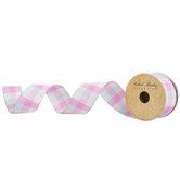 "Light Turquoise, Pink & Cream Plaid Wired Edge Ribbon - 1 1/2"""