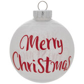 White & Red Merry Christmas Ball Ornaments