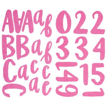 Pink Neon Prickly Glitter Alphabet Stickers