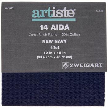"Navy 14-Count Aida Cross Stitch Fabric - 11 3/4"" x 18"""