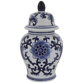 Blue & White Round Floral Canister