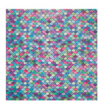 "Multi-Color Mermaid Scales Scrapbook Paper - 12"" x 12"""