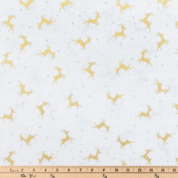 Gold Reindeer & Silver Star Cotton Fabric