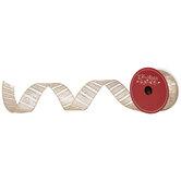 "Gold Glitter Striped Wired Edge Ribbon - 1 1/2"""