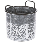 Whitewash Tile Galvanized Metal Container