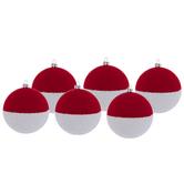 Red & White Glitter Ball Ornaments