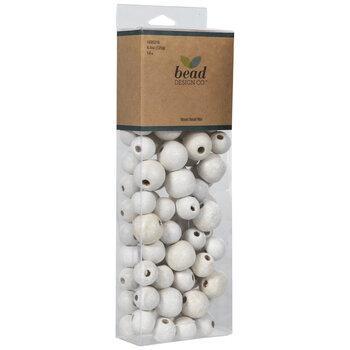 White Round Wood Bead Mix