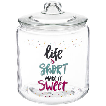 Life Is Short Glass Canister