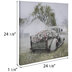 Sage Green Truck With Petunias Canvas Wall Decor