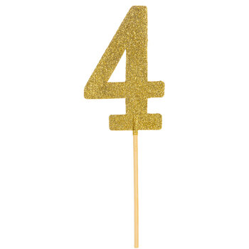 Gold Glitter Number Cake Topper - 4