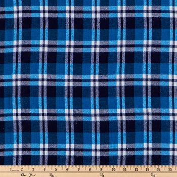 Blue & White Tartan Flannel Fabric