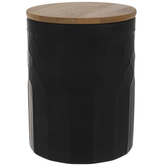 Matte Black & Brown Textured Canister - Small