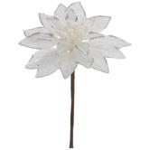 White & Silver Glitter Poinsettia Pick