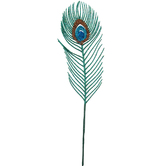 Turquoise Glitter Peacock Feather Pick