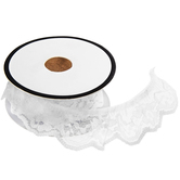White Ruffled Lace Trim - 1""