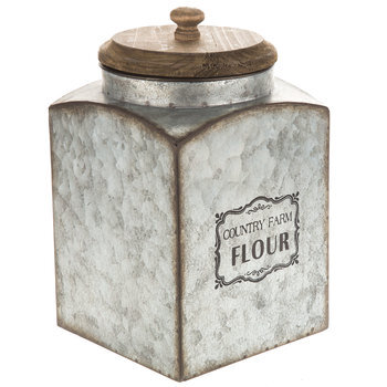 Country Farm Flour Galvanized Metal Canister