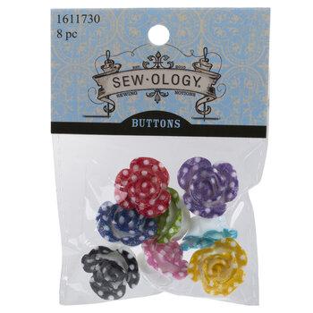 Assorted Polka Dot Flower Shank Buttons